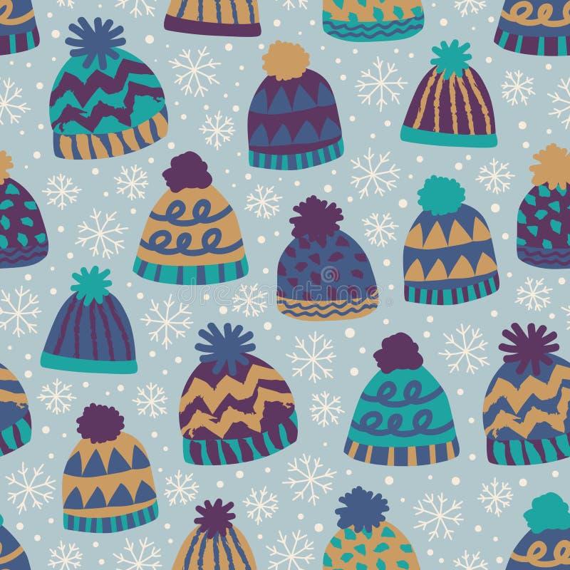 Modello senza cuciture di inverno con i cappucci ed i fiocchi di neve illustrazione vettoriale