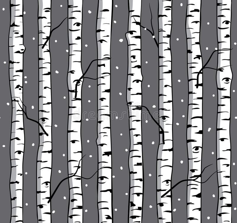 Modello senza cuciture di inverno con le betulle illustrazione vettoriale