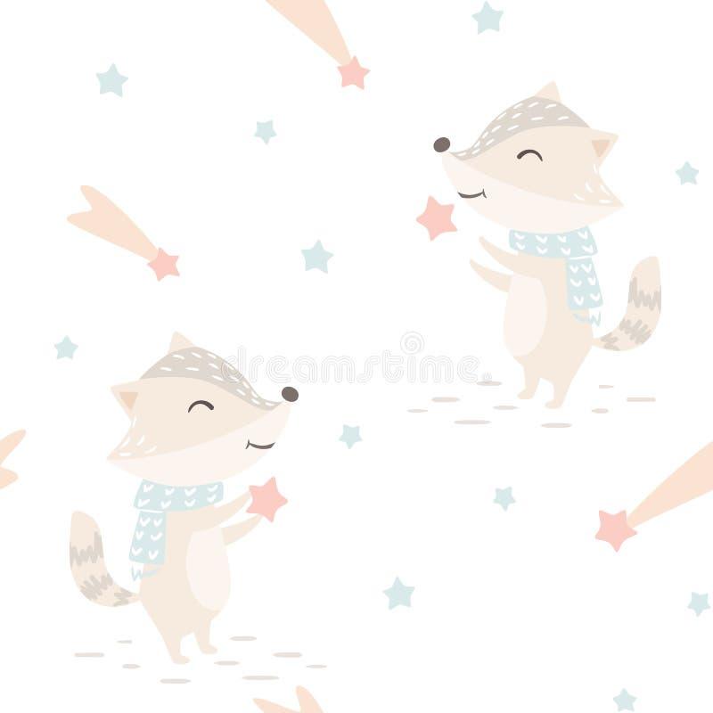 Modello senza cuciture di inverno del bambino del procione L'animale sveglio prende il fondo di Natale delle stelle royalty illustrazione gratis