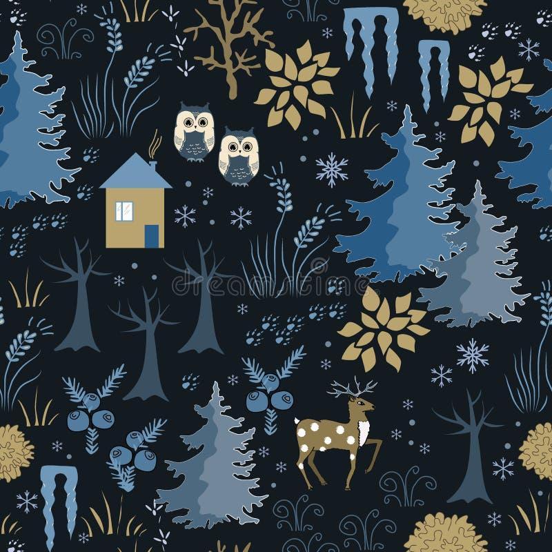 Modello senza cuciture di inverno impressionante con la casa nel fondo posteriore della foresta di notte, marrone e blu alla moda illustrazione vettoriale