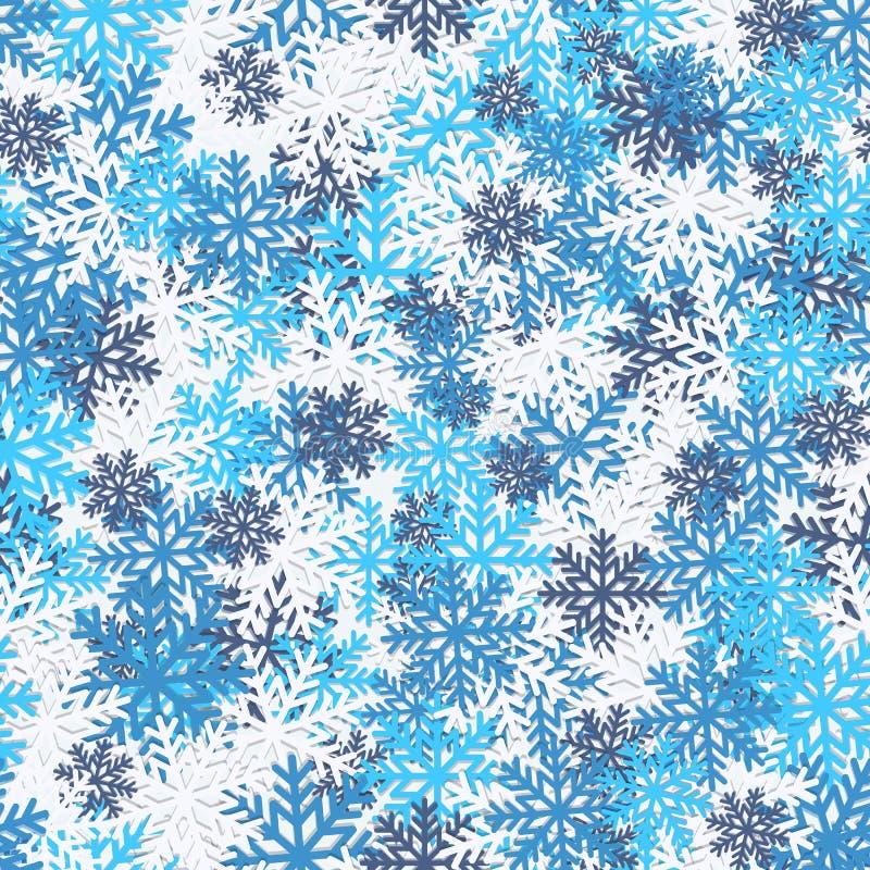 Modello senza cuciture di inverno luminoso con i fiocchi di neve Priorità bassa astratta di natale illustrazione di stock