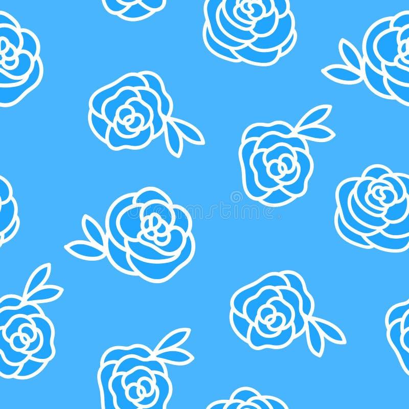 Modello senza cuciture di inverno di vettore Fiorisca l'illustrazione bianca di disegno della mano delle rose isolata su fondo bl illustrazione vettoriale