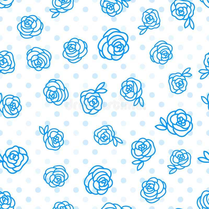 Modello senza cuciture di inverno di vettore Le rose del fiore passano l'illustrazione del disegno con il pois isolato su fondo b illustrazione di stock