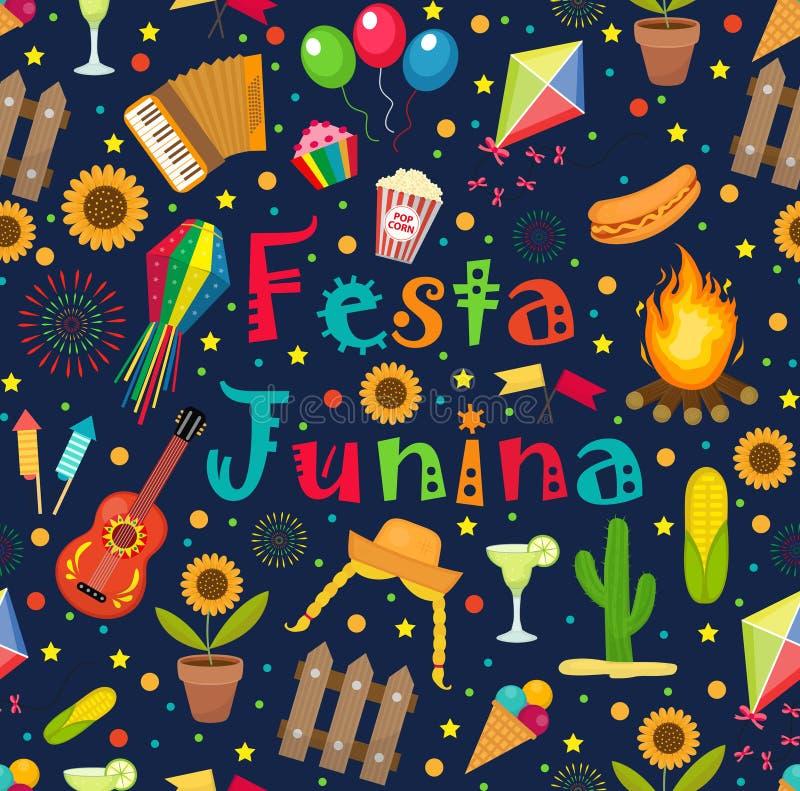 Modello senza cuciture di junina di Festa Fondo senza fine di festival dell'America latina brasiliano Ripetizione della struttura illustrazione di stock
