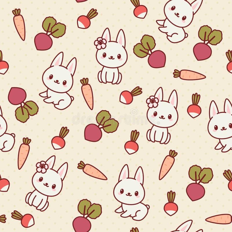 Modello senza cuciture di Kawaii con i coniglietti e le verdure royalty illustrazione gratis