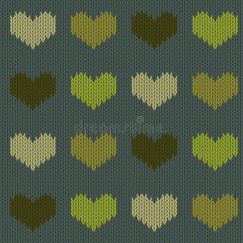 Modello senza cuciture di lana tricottato con i cuori nei toni verdi su un fondo verde conifero illustrazione di stock