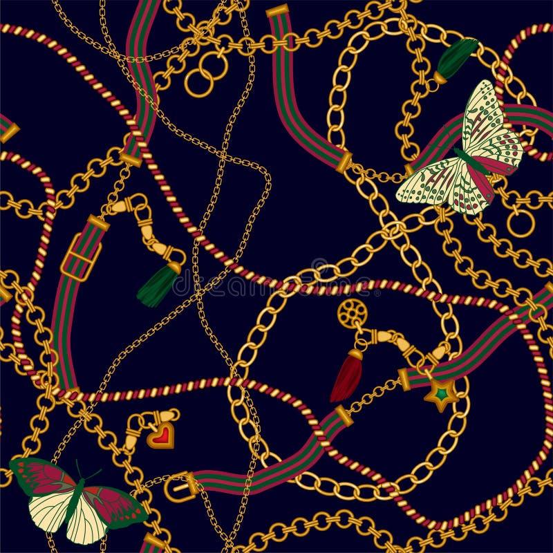 Modello senza cuciture di lusso di vettore con la catena e le cinghie dei gioielli per progettazione del tessuto royalty illustrazione gratis