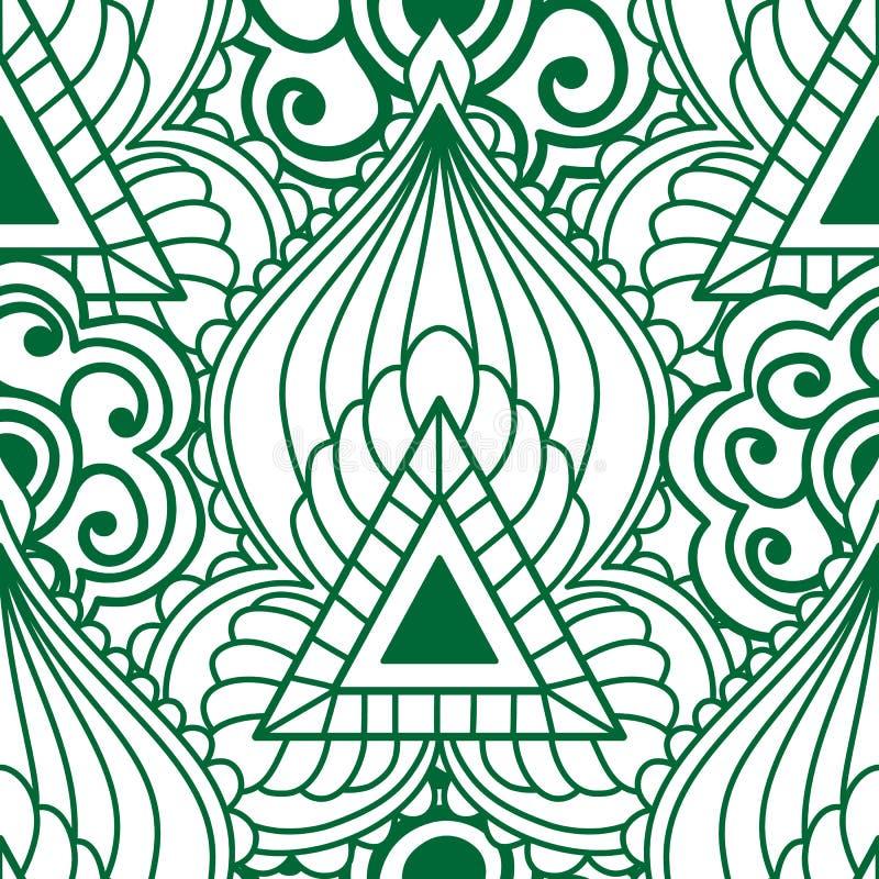 Modello senza cuciture di Mehendi di verde con colore bianco Tatuaggio indiano dell'ornamento di stile di Boho royalty illustrazione gratis