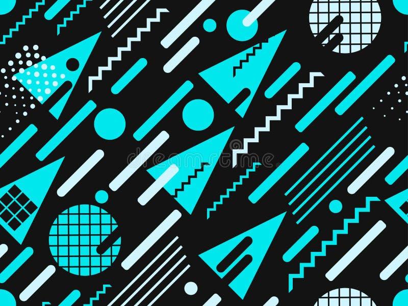 Modello senza cuciture di Memphis Colore blu Elementi geometrici Memphis nello stile di 80s Punti e linee punteggiate Vettore royalty illustrazione gratis