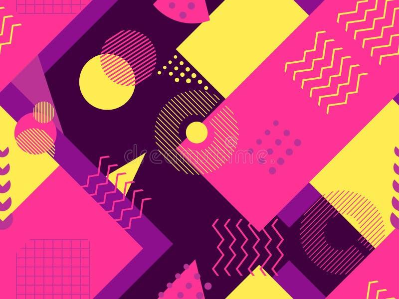 Modello senza cuciture di Memphis Elementi geometrici Memphis nello stile 80 di ` s Bauhaus retro Vettore illustrazione vettoriale