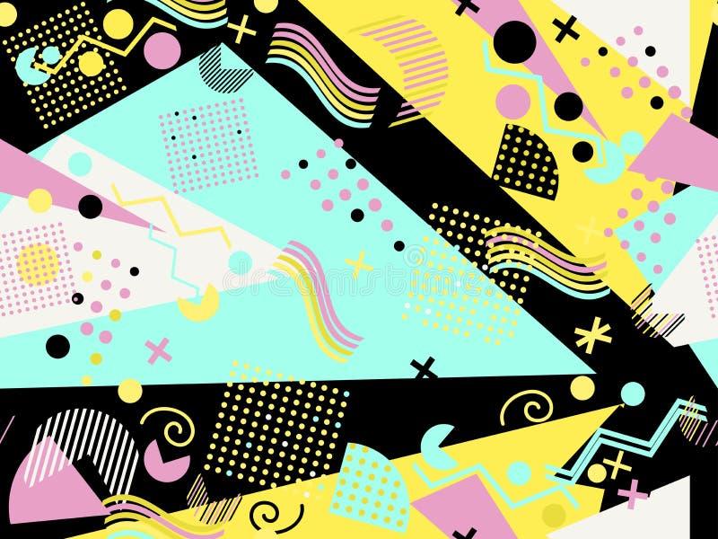 Modello senza cuciture di Memphis Elementi geometrici Memphis nello stile 80 di ` s Vettore royalty illustrazione gratis