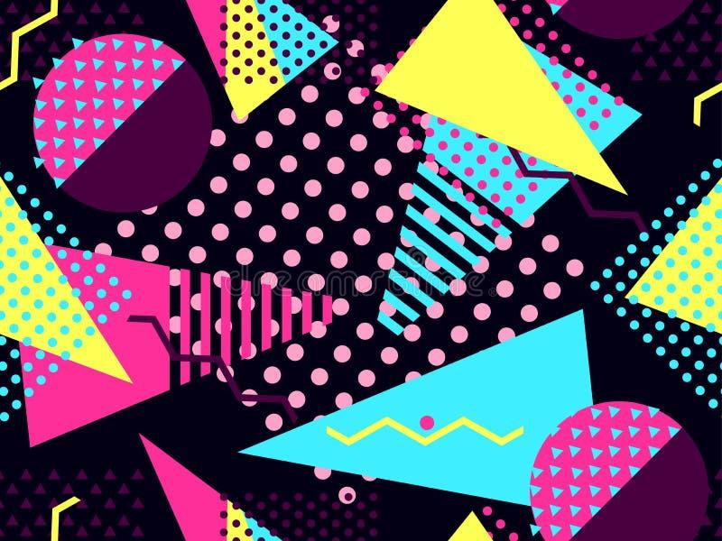 Modello senza cuciture di Memphis Elementi geometrici Memphis nello stile 80 di ` s Bauhaus retro Vettore illustrazione di stock