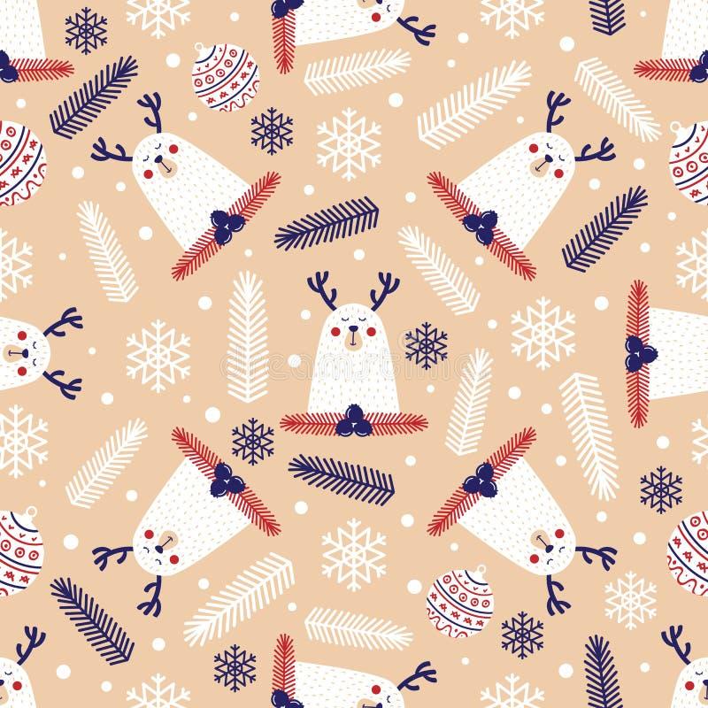 Modello senza cuciture di Natale con i cervi royalty illustrazione gratis