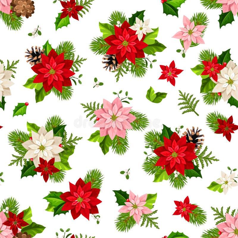Modello senza cuciture di Natale con i fiori della stella di Natale Illustrazione di vettore illustrazione di stock