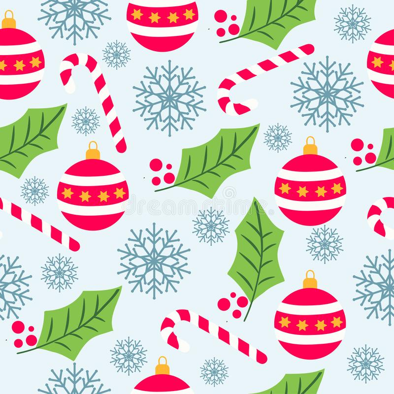Modello senza cuciture di Natale con i globi di Natale, bastoncini di zucchero illustrazione di stock