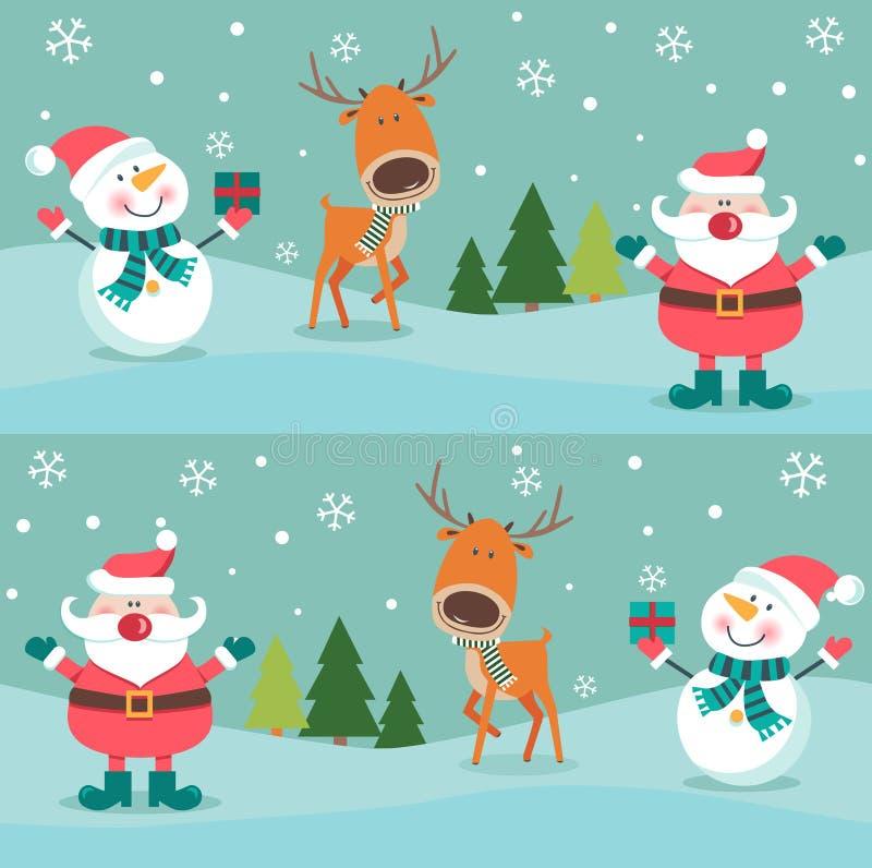Modello senza cuciture di Natale con i pinguini e le scatole , royalty illustrazione gratis