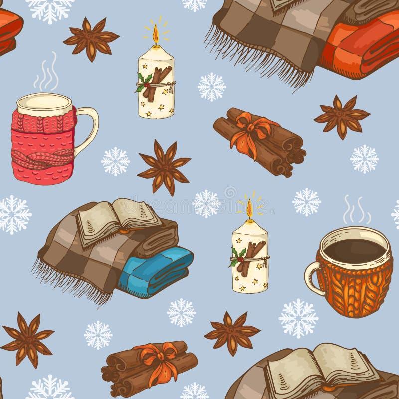 Modello senza cuciture di Natale con i plaid, le tazze, le candele ed i fiocchi di neve illustrazione vettoriale