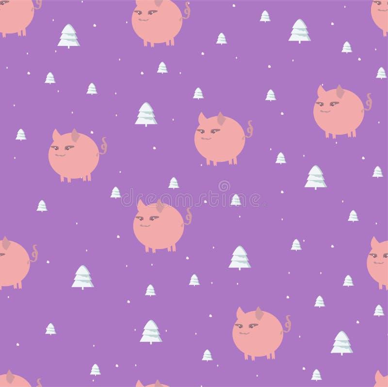 Modello senza cuciture di Natale con i porcellini e gli alberi forestali rosa bianchi su un quadrato porpora luminoso royalty illustrazione gratis