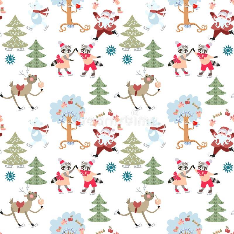 Modello senza cuciture di Natale con la renna Rudolph, Santa Claus, procioni svegli ed orsi polari nella foresta leggiadramente d illustrazione di stock