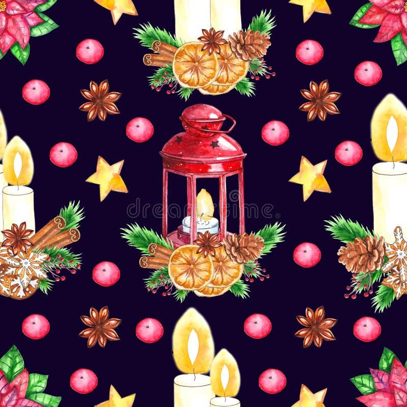 Modello senza cuciture di Natale dell'acquerello isolato su fondo scuro illustrazione di stock