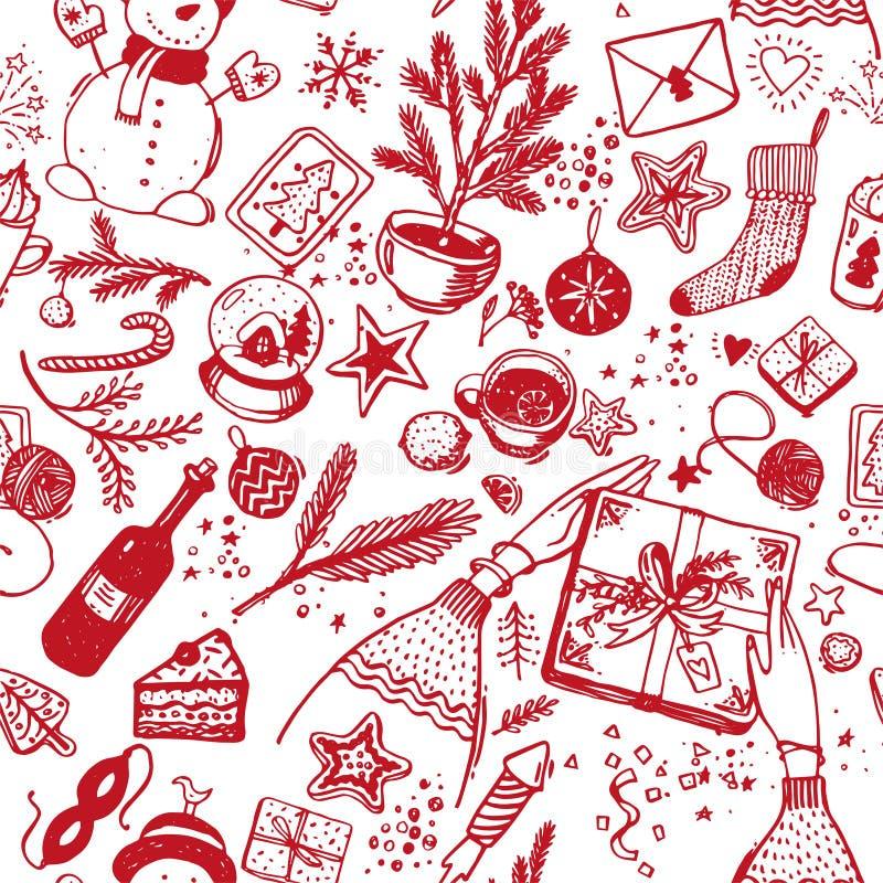 Modello senza cuciture di natale delle icone rosse con la linea su un fondo bianco Disegno di schizzo del nuovo anno per la carto illustrazione di stock