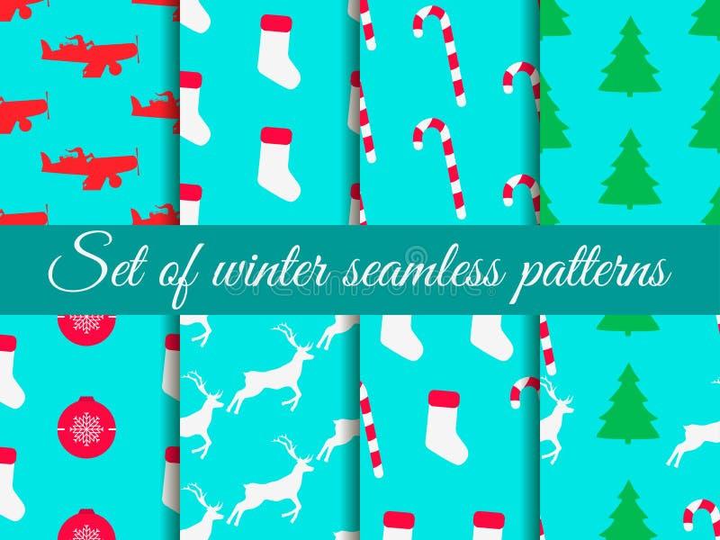 Modello senza cuciture di Natale determinato con i bastoncini di zucchero, i calzini di natale, i contenitori di regalo e l'alber illustrazione di stock
