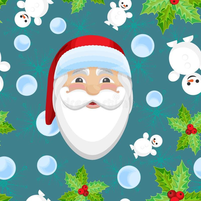 Modello senza cuciture di Natale di vettore con Santa Claus illustrazione vettoriale