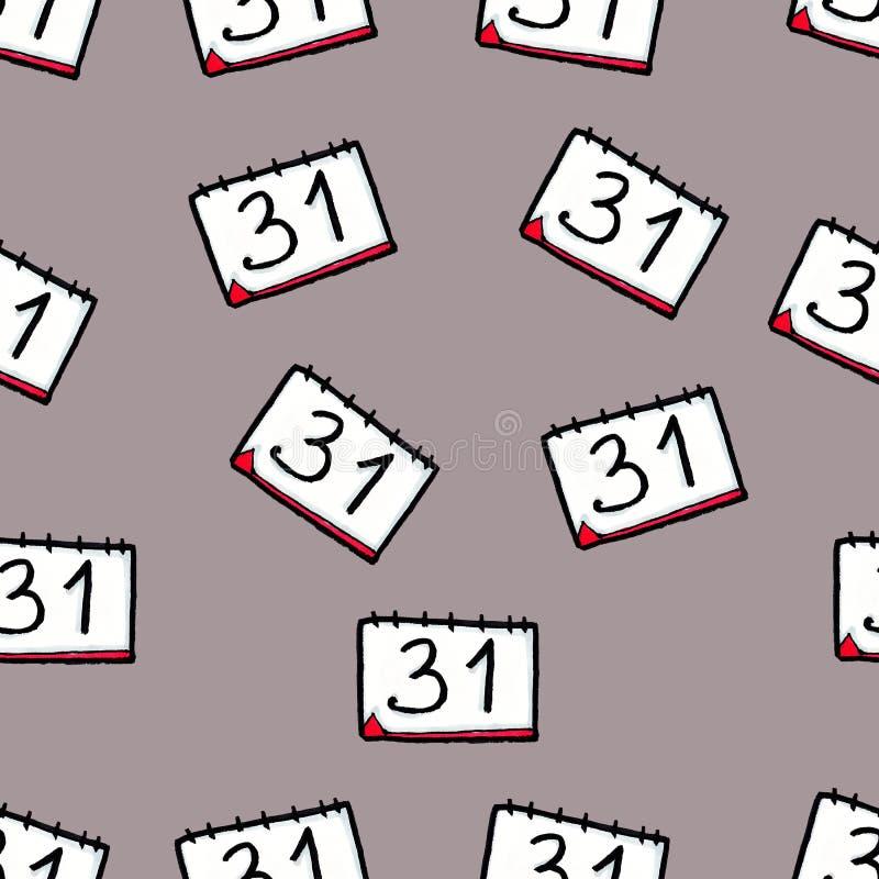 Modello senza cuciture di Natale disegnato a mano Calendario su un fondo grigio Nuovo Year' s EVE 31 dicembre illustrazione di stock