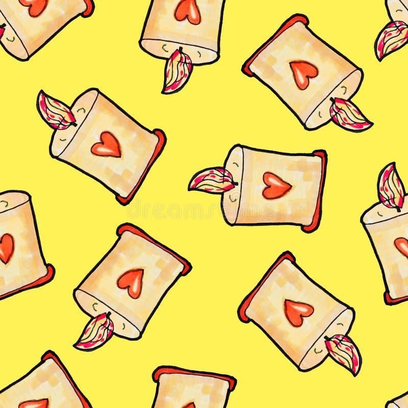 Modello senza cuciture di Natale disegnato a mano Candela di Natale con cuore contro su un fondo giallo Nuovo anno felice royalty illustrazione gratis