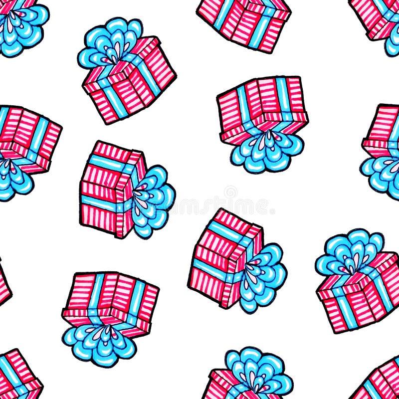 Modello senza cuciture di Natale disegnato a mano Regalo blu con il nastro rosa su un fondo bianco Nuovo anno felice immagine stock libera da diritti