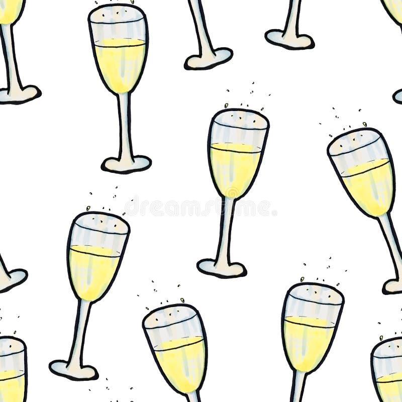 Modello senza cuciture di Natale disegnato a mano Un vetro di champagne su un fondo bianco Nuovo anno felice illustrazione vettoriale
