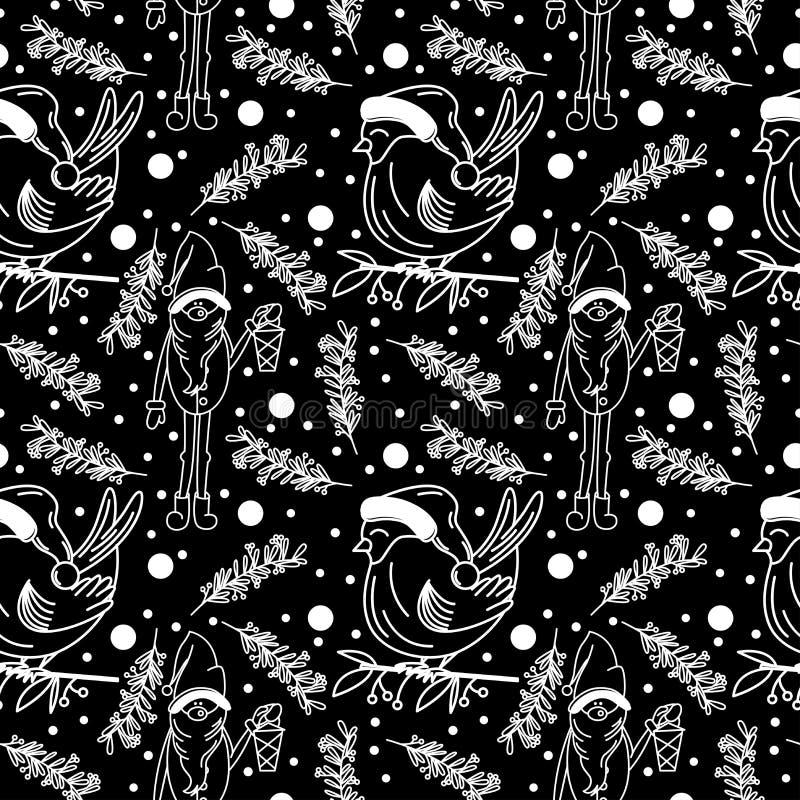 Modello senza cuciture di Natale lineare di scarabocchio nel vettore illustrazione vettoriale