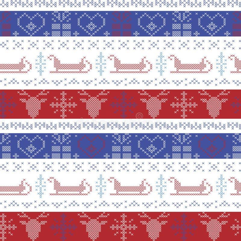 Modello senza cuciture di Natale nordico scuro e blu-chiaro e rosso con la slitta di Santa, renna, fiocchi di neve, ornamento dec illustrazione vettoriale
