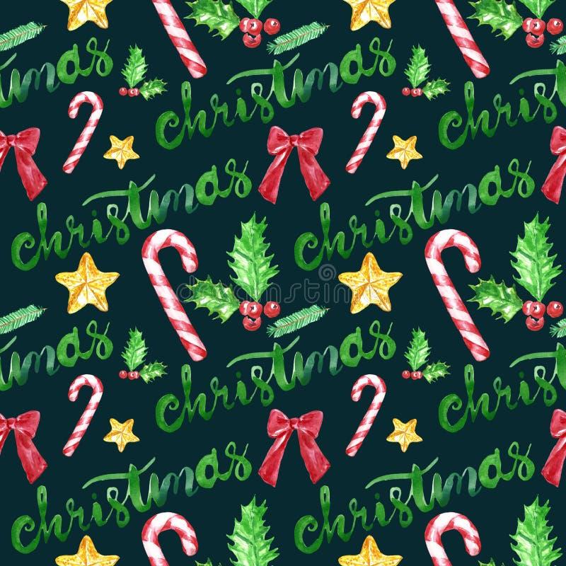 Modello senza cuciture di Natale su fondo verde Elementi disegnati a mano dell'acquerello, simboli delle vacanze invernali fotografia stock