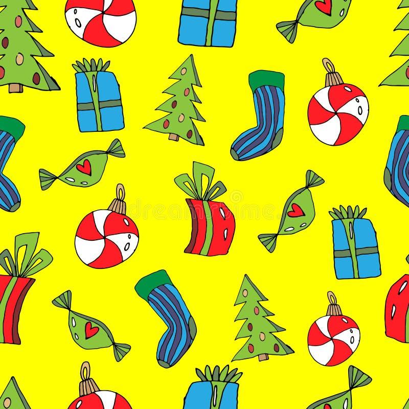 Modello senza cuciture di Natale sveglio nello stile del fumetto Calzino, regali, albero di Natale, giocattolo sotto forma di car illustrazione di stock