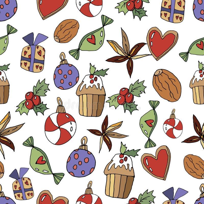 Modello senza cuciture di Natale sveglio nello stile del fumetto Cuore, regali, lecca-lecca, giocattolo, noce, bigné, spezie e ba illustrazione vettoriale