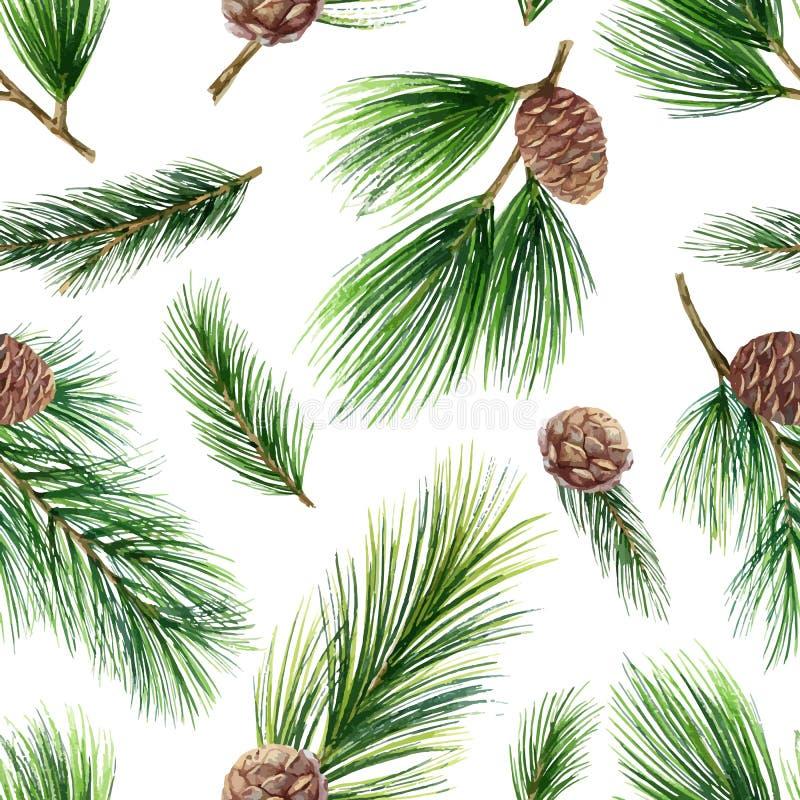 Modello senza cuciture di Natale di vettore dell'acquerello con i rami ed i coni verdi dell'abete fotografie stock