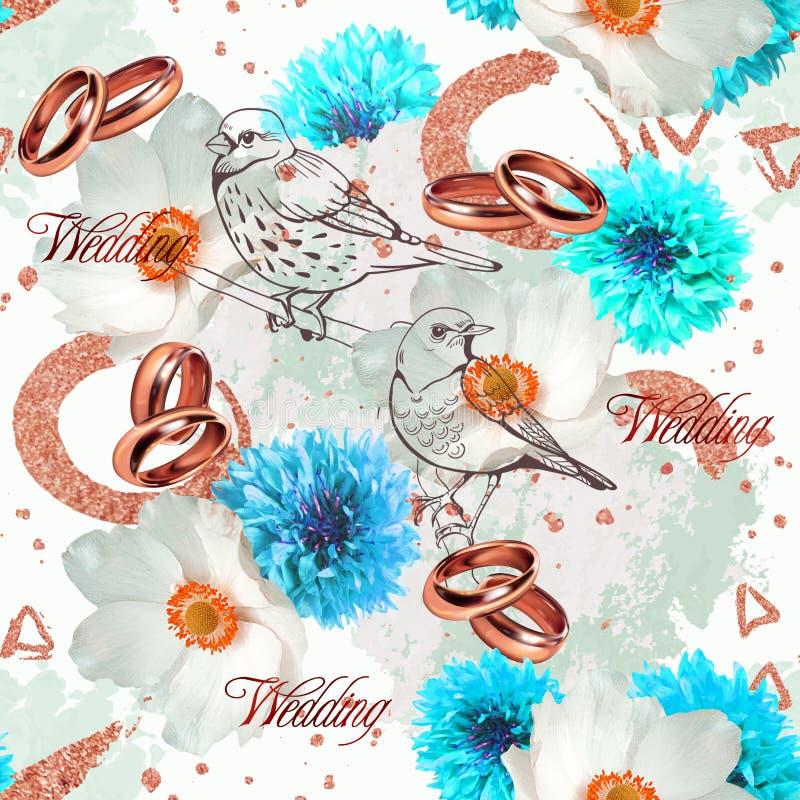 Modello senza cuciture di nozze con i fiori, gli uccelli e gli anelli bianchi e blu illustrazione vettoriale