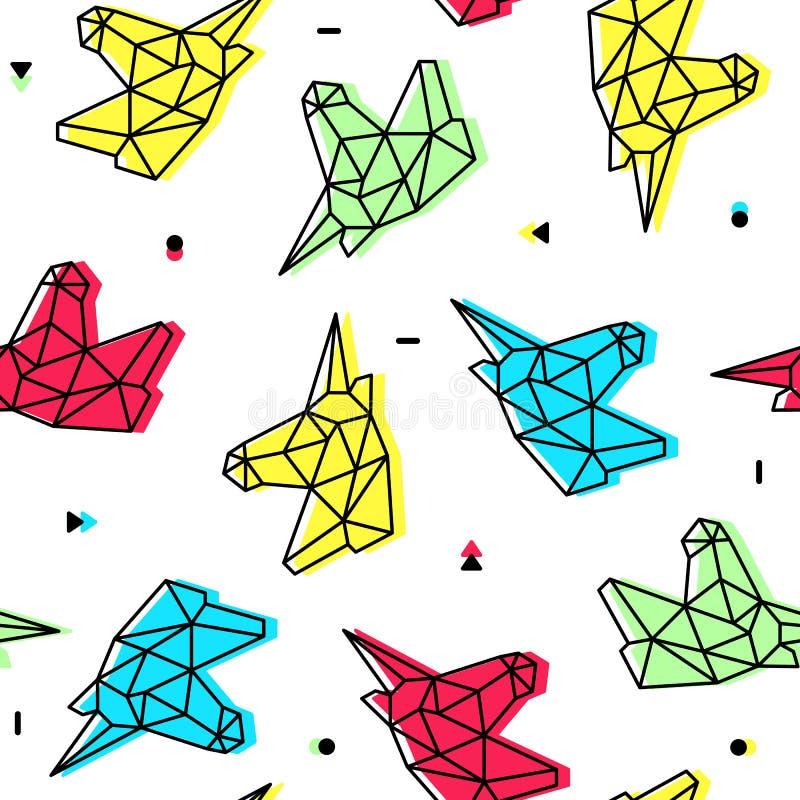 Modello senza cuciture di origami della testa al neon poligonale dell'unicorno illustrazione di stock