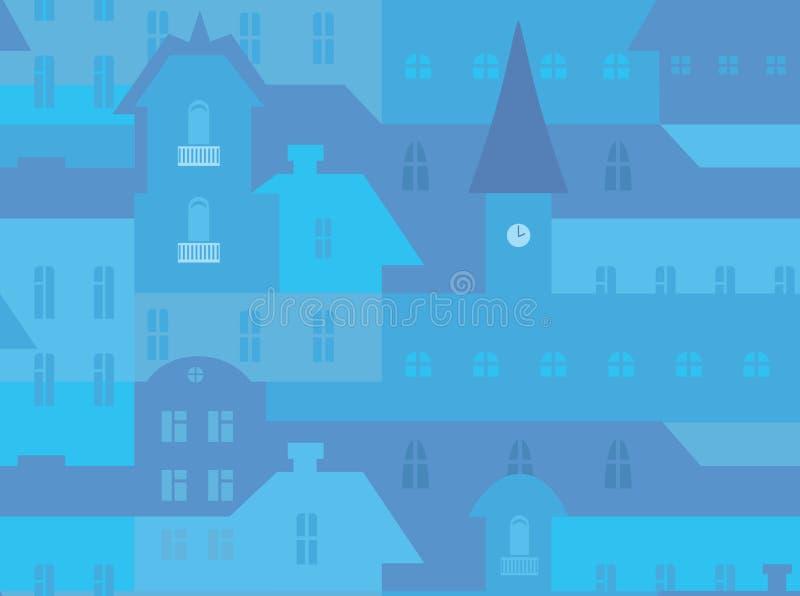 Modello senza cuciture di paesaggio urbano illustrazione di stock