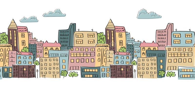Modello senza cuciture di paesaggio urbano per la vostra progettazione Città variopinta di scarabocchio illustrazione vettoriale