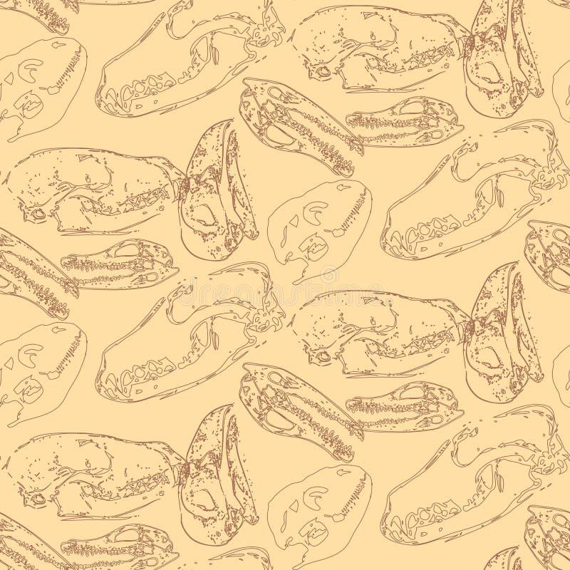 Modello senza cuciture di paleontologia con le ossa royalty illustrazione gratis