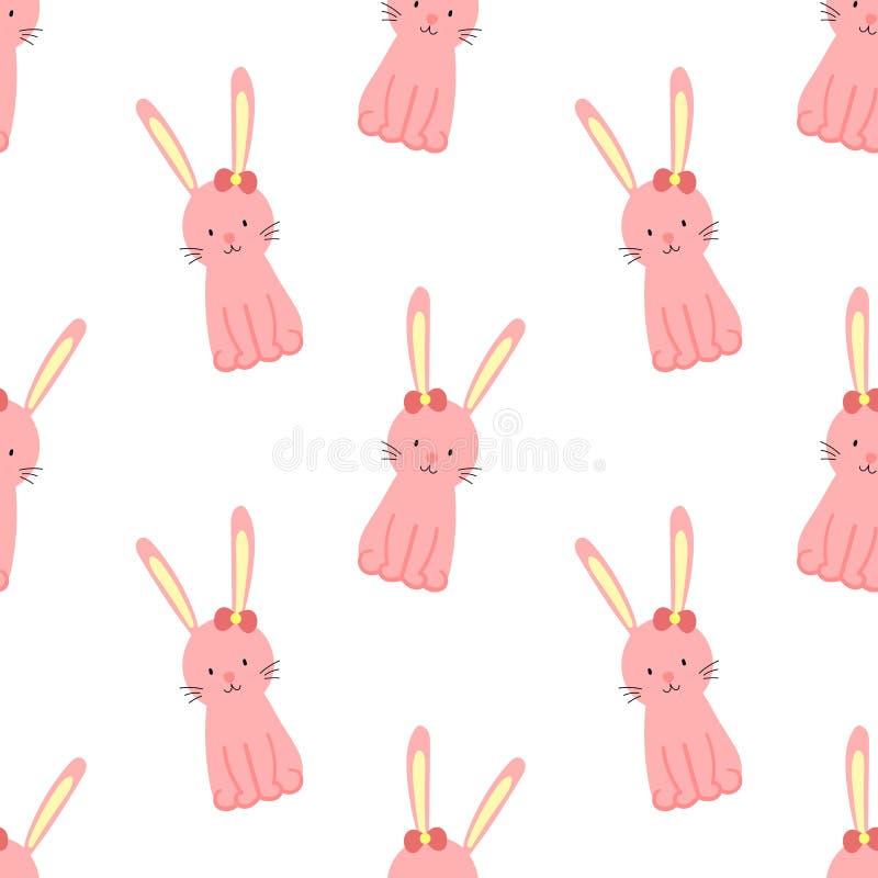 Modello senza cuciture di Pasqua con coniglio sveglio su un fondo trasparente Illustrazione disegnata a mano di vettore del conig illustrazione vettoriale