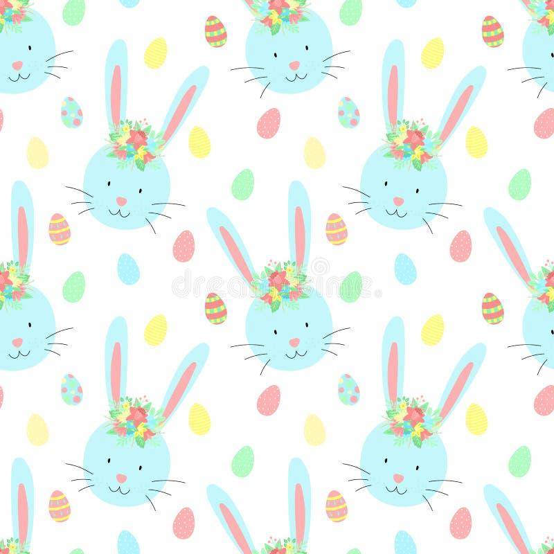 Modello senza cuciture di Pasqua con i conigli, le uova ed i fiori svegli su un fondo trasparente Illustrazione disegnata a mano  illustrazione di stock