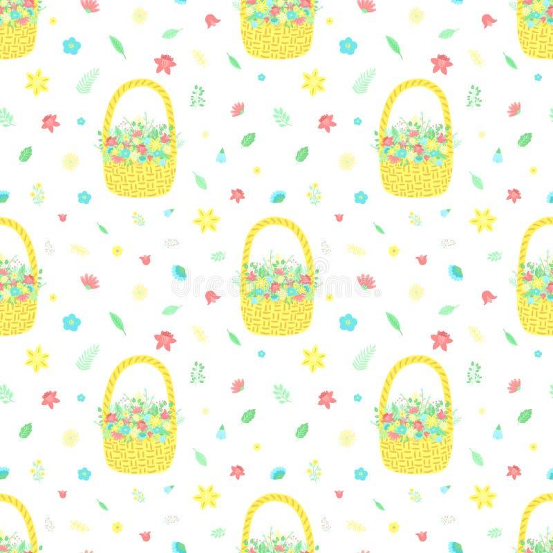 Modello senza cuciture di Pasqua con il canestro dei fiori e del mazzo su un fondo trasparente Illustrazione disegnata a mano di  illustrazione di stock