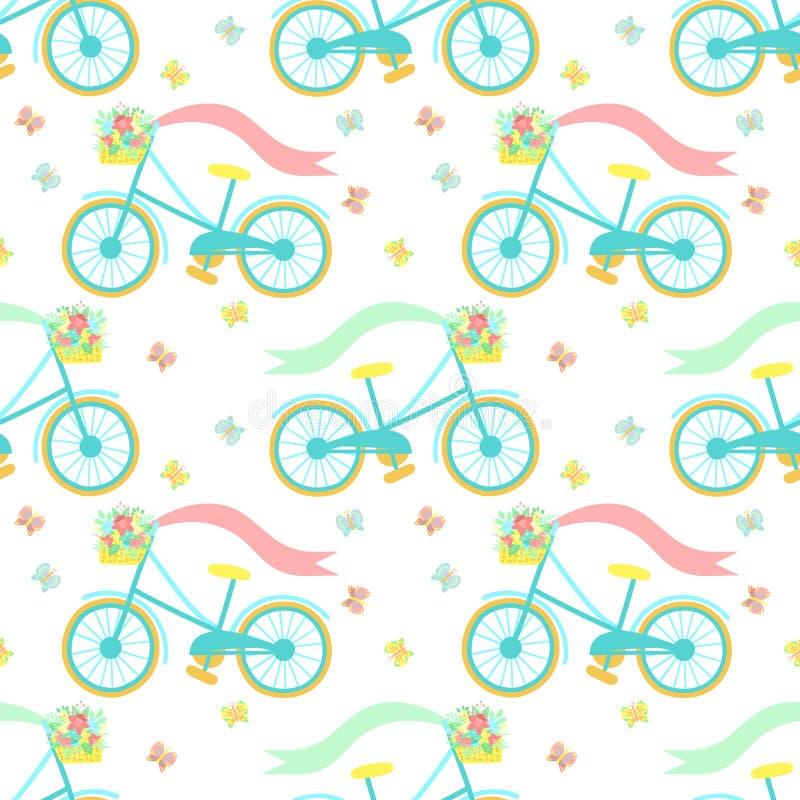 Modello senza cuciture di Pasqua con la bicicletta variopinta, le farfalle ed il canestro dei fiori su un fondo trasparente Vetto illustrazione vettoriale