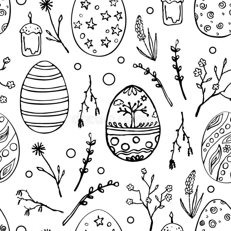 Modello senza cuciture di Pasqua con le uova ornamentali di scarabocchio ed i motivi floreali Fondo d'annata di festa della molla royalty illustrazione gratis