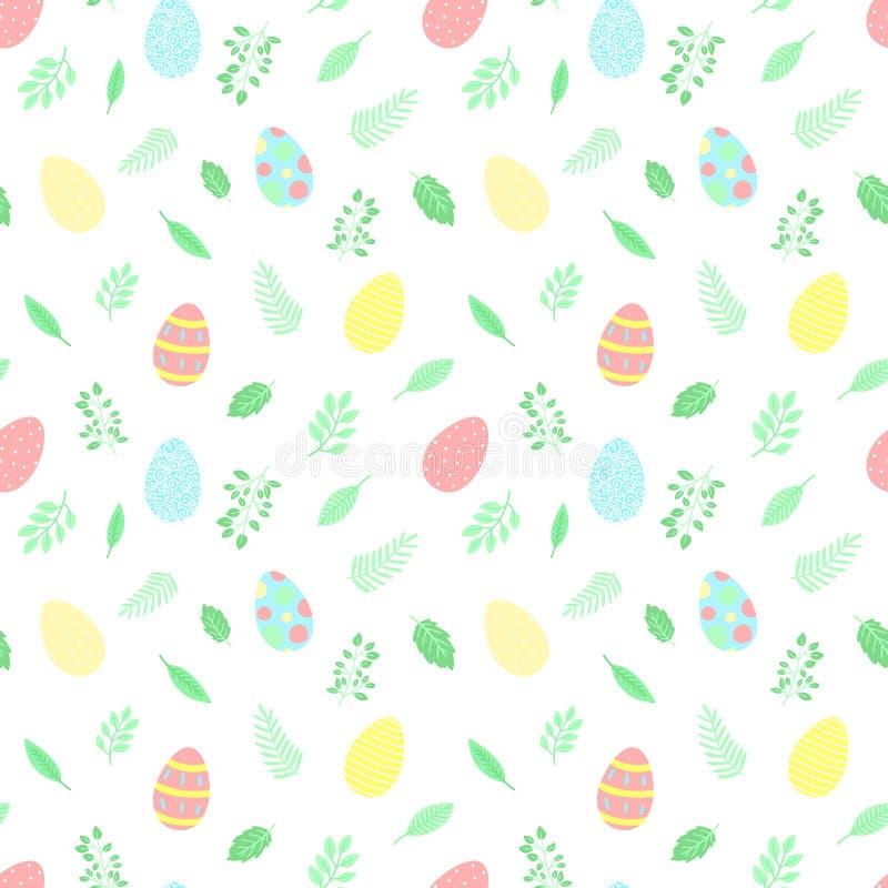 Modello senza cuciture di Pasqua con le uova variopinte e le foglie verdi su un fondo trasparente Illustrazione disegnata a mano  illustrazione di stock
