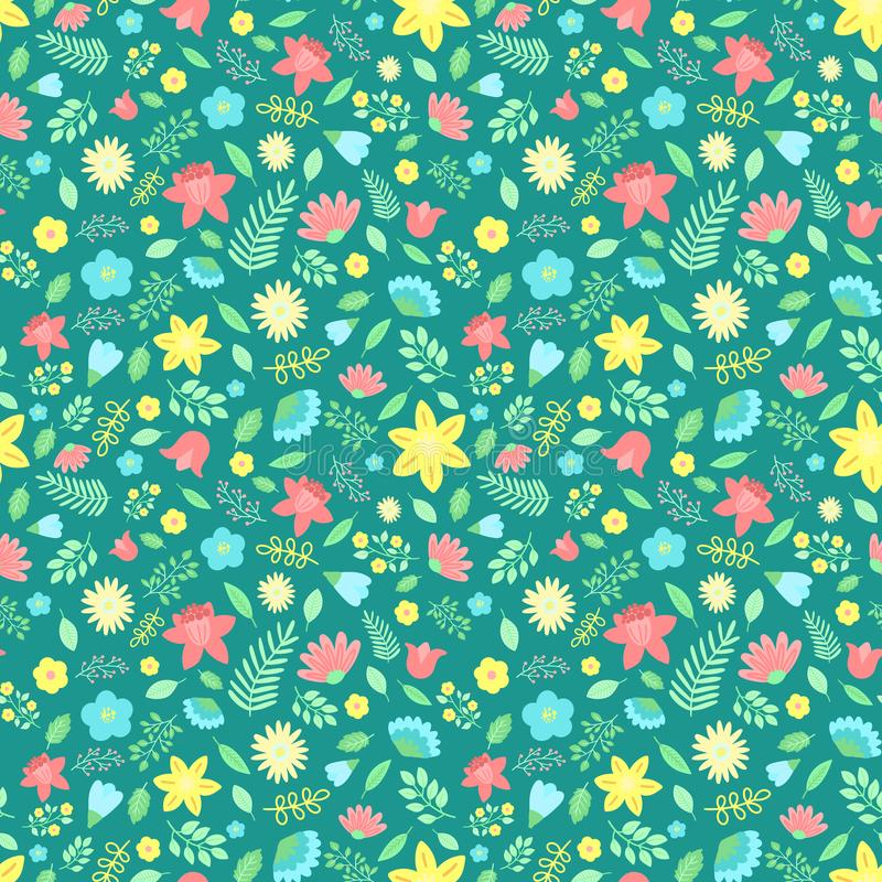 Modello senza cuciture di Pasqua dei fiori e delle foglie su un fondo verde scuro Illustrazione disegnata a mano di vettore delle illustrazione di stock