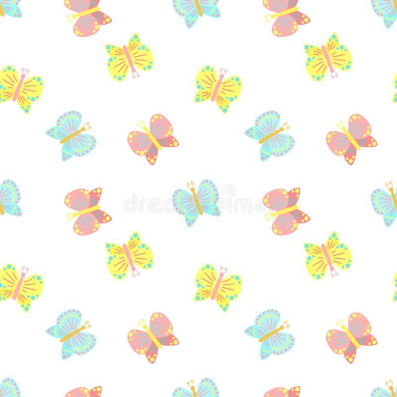 Modello senza cuciture di Pasqua delle farfalle su un fondo trasparente Illustrazione disegnata a mano per la festa della molla,  royalty illustrazione gratis